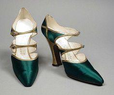 Green silk shoes, appx 1925