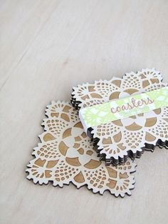 wood coasters with doily pattern laser engraved water safe. $19.00, via Etsy.