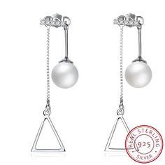 Elegant 925 Silver Zircon Decor Creative Women Drop Earrings W/ Imitation Pearl