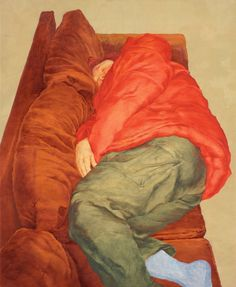 On the sofa I Anna Finney. Oil on canvas. Red Sofa, Tumblr, Painting & Drawing, Oil On Canvas, Bean Bag Chair, History, Drawings, Couple, Art