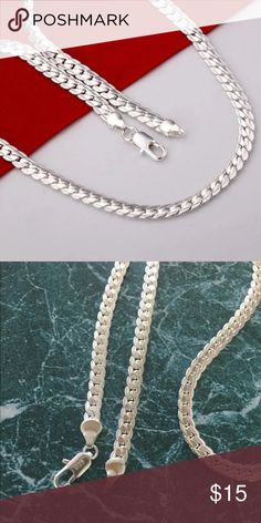 "New 925 silver plated chain for men/ women Brand new . 925 silver plated chain necklace for men or women.                                                        Chain length 20"" width 5mm.                          Stamps 925 Jewelry Necklaces"