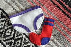 felt lavendar sachets made to look like underwear and socks