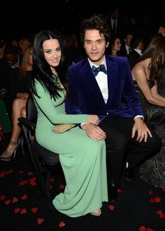 """These two knew who they loved long before they made the video for """"Who You Love."""" Katy Perry and John Mayer get cozy at the 55th GRAMMY Awards in 2013"""