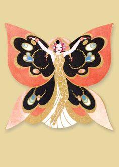 1920's  bridge tally butterfly