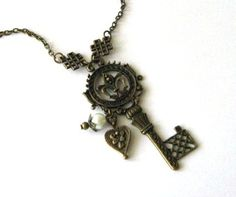 Antiqued bronze key necklace jewelry with heart charm