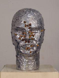 portrait with pencils by the italian artist davide mancini zanchi. aluminium and pencils, 2012.