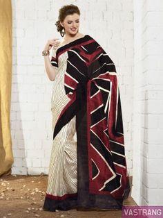 Multicolor Art Silk Printed Border Sobar Saree