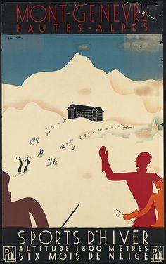 Mont-Genevre Hautes-Alpes by Paul Brusset. 20th century. #travel #poster #snow