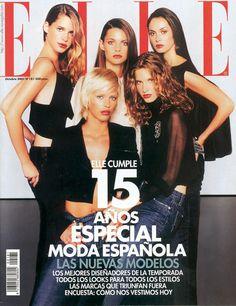 Elle Spain October 2001 - Priscila de Gustin, Minerva Portillo, Marina Perez, Clara Mas & Elisabeth Mas