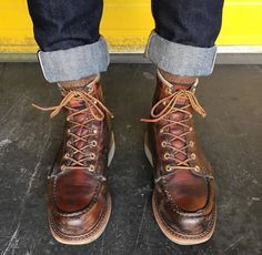 ✸This Old Stomping Ground✸ : Photo Prada Shoes, Men's Shoes, Shoe Boots, Wing Shoes, Man Boots, Mens Lace Up Boots, Jeans And Boots, Cuffed Jeans, Leather Men