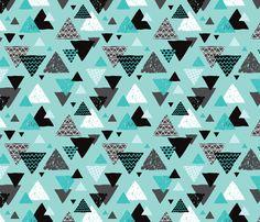 Geometric triangle aztec illustration hand drawn pattern blue boys fabric by littlesmilemakers on Spoonflower - custom fabric