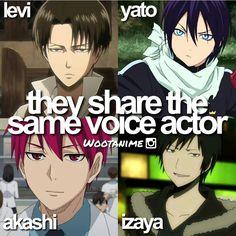 Levi-Attack on titan Yato-Noragami Akashi- Kuroko no basket (I think haven't gotten that far in the anime) Izaya-Durarara Anime Meme, Otaku Anime, Manga Anime, Got Anime, I Love Anime, Awesome Anime, Anime Guys, Haikyuu, Anime Crossover