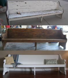 Refurbished Church Pew --- for foyer or hall to sanctuary Furniture Inspiration, Home Decor Inspiration, Wedding Inspiration, Refurbished Furniture, Home Furniture, Redoing Furniture, Home Renovation, Home Remodeling, Garage Interior