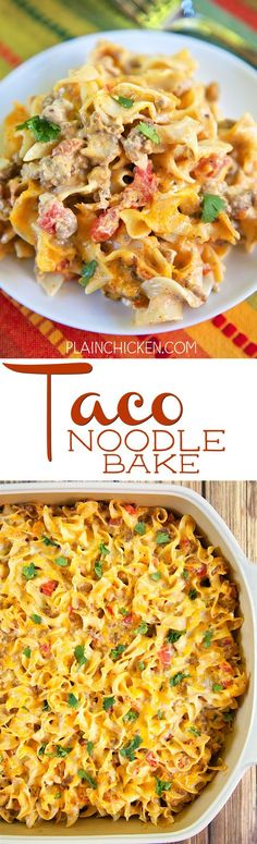 Taco Noodle Bake - SO good!!! Egg noodles, taco meat, cheese, diced tomatoes…