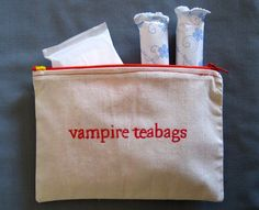 "Indiscreet ""vampire teabags"" Zip Pouch for Tampons, Menstrual Pads, Feminine Products. funny but Disgusting. Ft Tumblr, Paul Wesley, Haha Funny, Funny Stuff, Funny Ads, Freaking Hilarious, Funny Humour, That's Hilarious, Random Humor"