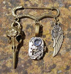 Charm Pin  Steampunk Brooch Lapel Pin Badge by ArtandThingsUK