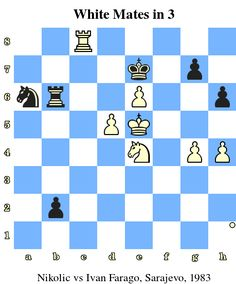 White Mates in 3. Nikolic vs Ivan Farago, Sarajevo, 1983 www.chess-and-strategy.com #echecs #chess #strategie #exercice