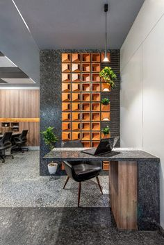 A Corporate office space inspired by collective use of various clay tile forms and natural granite for interiors Office Wall Design, Cool Office Space, Office Walls, Office Interior Design, Office Interiors, Office Decor, Design Studio Office, Office Furniture, Partition Design