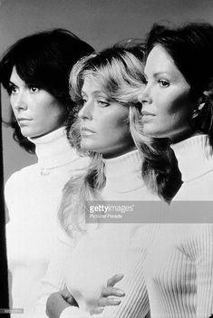 Promotional portrait of, from left, American actresses Kate Jackson, Farrah Fawcett, and Jaclyn Smith, all dressed in matching turtleneck sweaters, for the television program 'Charlie's Angels,' mid 1977.