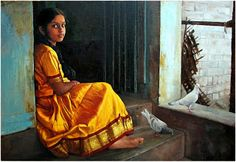 COLORS: S.Ilayaraja Paintings Collections: Waiting for her playmates