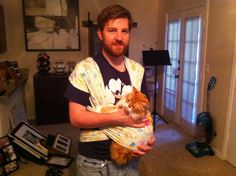 If your cat loves to be held, consider a Baby Bjorn for hands-free cuddling!