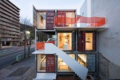 Sugoroku office by Daiken-Met Architects built using shipping containers makes it a mobile space! via Rebecca Byers @trendhunter