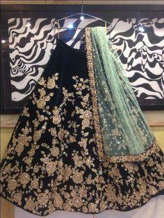Black Embroidered Attractive Party Wear Lehenga Choli And Dupatta Set - Buy lehenga choli online Indian Wedding Outfits, Pakistani Outfits, Bridal Outfits, Indian Outfits, Bridal Dresses, Eid Outfits, Eid Dresses, Designer Bridal Lehenga, Bridal Lehenga Choli