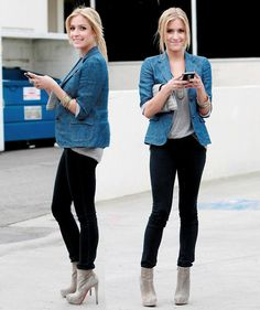 Just got cute grey booties.  I'm not a fan of hers, but like how she pulls an outfit together with them. Giving me ideas...