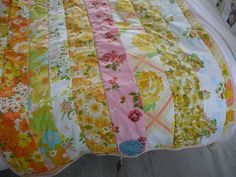 Vintage bed sheet fabric strip patchwork quilt