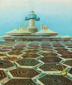 """"""" 1984 book The Future World of Agriculture and illustrates futuristic farming techniques near a sea city  Robots tend crops that grow on floating platforms around a sea city of the future. Water from the ocean would evaporate, rise to the base of the platforms (leaving the salt behind), and feed the crops."""""""