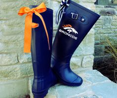 HAVE 2 HAVE!!!! Denver Bronco Navy Matte Rain Boot with Custom by PuddlesNRainBows, $86.00