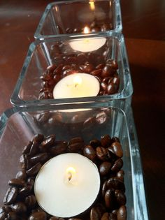 Coffee Candles. Candles would warm the coffee beans and make the house smell like fresh coffee! Love that smell