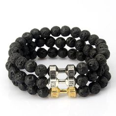 Designs Jewelry by CUPHERS Antique Gold Silver Plated dumbbell Charm with Black Lava Onyx Turquoises Natural Stone Beads Bracelet For Men Women Pulseras - Brand Name: CCD Bracelets For Men, Bangle Bracelets, Bangles, Lava, Gold Gifts, Shape Patterns, Stone Beads, Jewelry Findings, Antique Gold