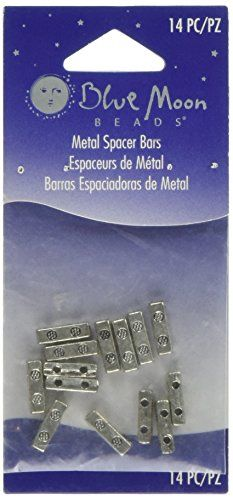 Blue Moon Plated Metal 2Hole Spacer Bars 14Pkg Silver ** Visit the image link more details. #Beading& Jewelry Making