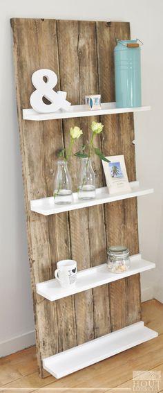 Beautiful wooden wall with shelves. | #CycleCrunch #HomeDecor #BikerHome