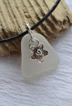 Genuine Sea Glass Necklace Frosty White Snow Flower by beachglow
