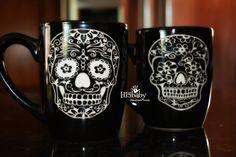Etched Calavera coffee mug set/ sugar skull coffee mug/ calacas coffee mug/ day of the dead coffee mug/ dia de los muertos coffee mug