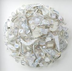 'observatory' 2007 designboom previously featured the map art of chris kenny late last year. since then kelly has been busy creating new pieces made from Map Collage, Cluster, Arte Popular, Gcse Art, Artist At Work, Book Art, Illustration Art, Illustrations, Textiles