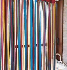 Ribbon shower curtain i really like this there are soooo for Do shower curtains come in different lengths