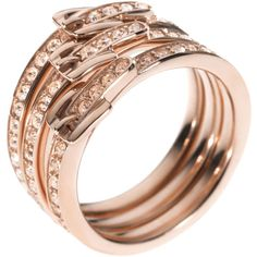 Michael Kors Stacked Buckle Pave Ring, Rose Golden ($85) ❤ liked on Polyvore