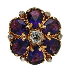 Vintage 1960'S Bright Purple Amethyst Diamond Dome Twisted Wire 14k Ring