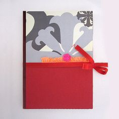 Bold Red Notebook with Ruffle Detail and Ribbon by GdesignWorkshop, $14.00