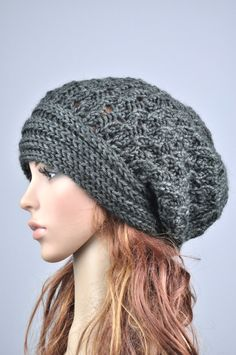 Hand knit hat woman man unisex wool hat slouchy Hat with band charcoal dark grey… Loom Knitting, Hand Knitting, Knitting Patterns, Crochet Patterns, Hat Patterns, Knitting Machine, Stitch Patterns, Crochet Monkey Hat, Knit Or Crochet