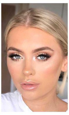 Bridal Makeup For Green Eyes, Bridal Makeup For Blondes, Gold Makeup Looks, Bridal Makeup Looks, Wedding Hair And Makeup, Makeup Looks For Prom, Natural Bridal Makeup, Wedding Nails For Bride Natural, Dramatic Bridal Makeup