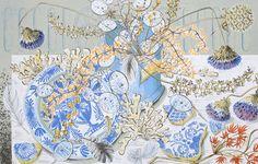Angie Lewin HONESTY BLUE Screen print H 37cm x 58cm Unframed Edition size 150