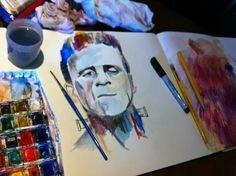 One of my watercolors in my art journal #Frankenstein #moleskine #watercolor #art #illustration