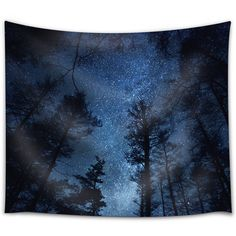 Starry Sky Above a Forest Fabric Tapestry Home Decor 51x60 Inches ($30) ❤ liked on Polyvore featuring home, home decor, wall art, dark olive, home & living, home décor, wall décor, wall hangings, tapestry wall hanging and fabric home decor