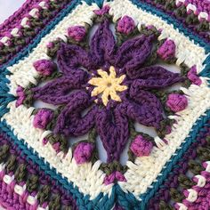 This floral design can be replicated to make a blanket for any baby or sweet child to treasure forever. It will also work well for the center square of a larger blanket. Both mini and large size squares are included.