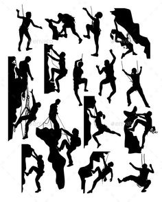 Rock Climber Silhouettes by martinussumbaji Rock Climber Silhouettes, art vector design. Ai CS, JPEG and EPS Rock Climbing Party, Vector Design, Graphic Design, Escalade, Dog Tattoos, Silhouette Vector, Climbers, Vector Pattern, Rock Art