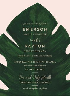 Pink and green giant palm leaf wedding invitation. Available on Minted.com. By Minted artist, Kaydi Bishop.